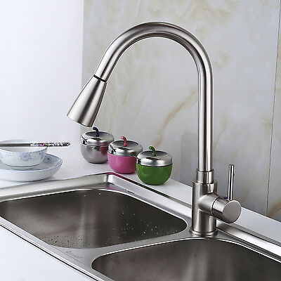 Pull Down Kitchen Faucet Single Handle Pull Out Sprayer Swivel Mixer Tap New