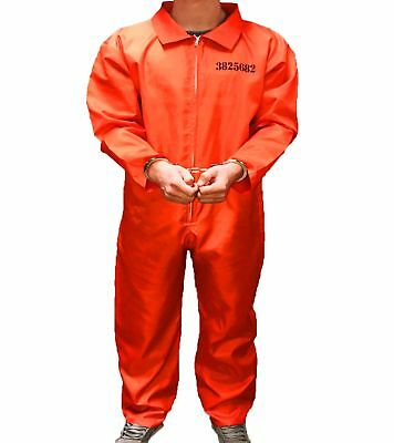 Mens Adult Prisoner Costume Fancy Dress Convict Jumpsuit Stag Do Party Halloween