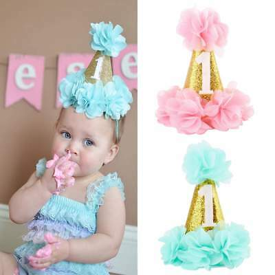 Baby Girls First 1st Birthday Party Hat Headband Cake Smash Prop Photo Outfit