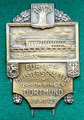 very scarce 1929 Dortmund European Greco Roman Wrestling Championships badge