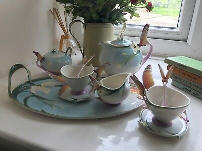 Rare Amazing 4pc Franz Porcelain Signed Butterfly Tea Coffee Set