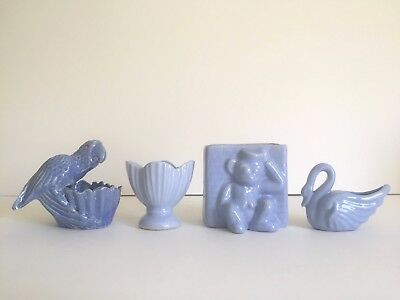 Vintage Art Deco 1930's Niloak Rare Periwinkle Blue Art Pottery Collection Of 4