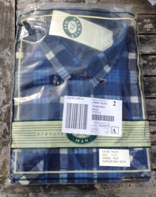 vintage mens Blue Tartan Plaid Workshirt in Original packaging