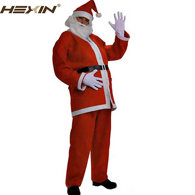 Christmas Long Red Men Santa Claus Costume With Coat Waist Belt White Strap Trim