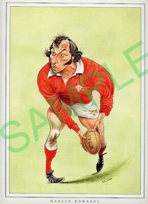 Framed picture Gareth Edwards by John Ireland, Rugby