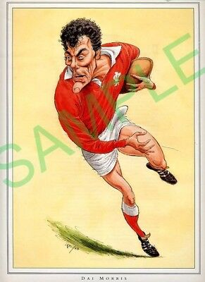 Framed picture of Dai Morris by John Ireland, Rugby