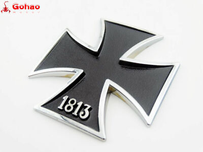 Motorcycle Bikes 1813 Iron Cross Tank Emblems Badge Fairing Decal 3D Black Metal
