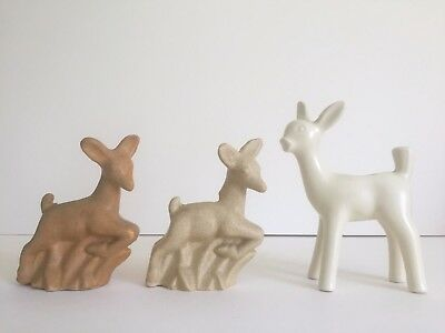 Vintage Art Deco 1930's Niloak Tan Cream White Deer Art Pottery Collection Of 3