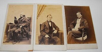 Trio of CDVs of  Waldo Emmerson- NathanielHawthorne and H. Kingsley.