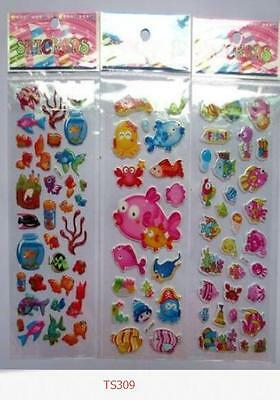 3 pcs puffy stickers lot children Stereoscopic toys fish sticker kid Reward gift
