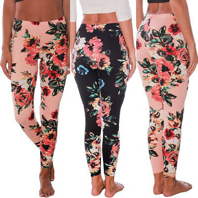 Women Floral Yoga Sports Long Pants Workout Running Leggings Stretch Trousers #q