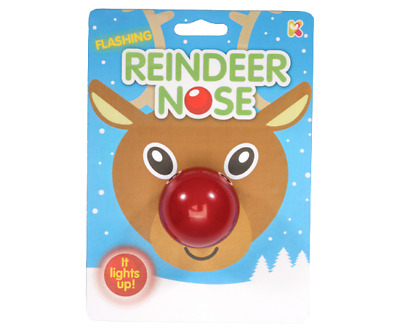 1 2 or 4 Christmas Flashing Reindeer Red Nose Day Fancy Dress Gift XMAS Toy