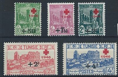 TUNISIA 1946 SG293-297  Red Cross Fund. Surch cross 1946 new values Set Mint MNH