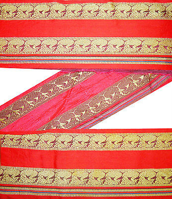 "6.5""wide Vintage Sari Border Woven Pure Silk Indian Trim Orange Craft Lace 5Yd"