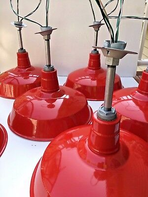 "(1) Abolite 18"" Red Porcelain Vintage Barn Light Enamel Industrial Pendant's +"