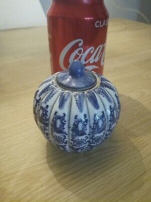 Beautiful Antique Blue And White Chinese small painted jar with lid mark To Base