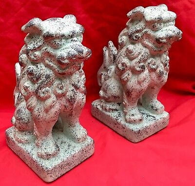 "Stunning Pair of Ceramic Foo Dogs - Bookends ""Guardian Lions""  7"" Tall"