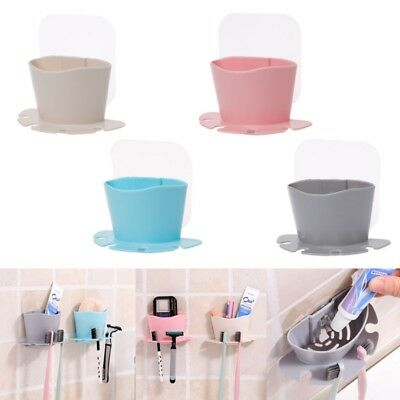 Toothbrush Toothpaste Holder Wall Suction Cup Box Storage Organizer Bathroom