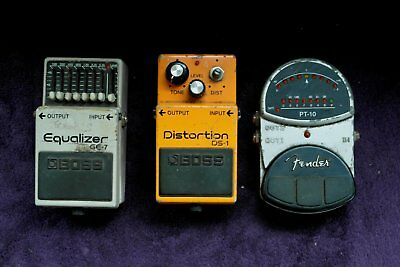 3 xElectric Guitar effects pedals BOSS FENDER distortion tuner equalizer bundle
