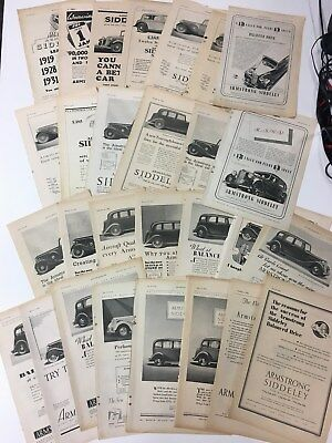 x28 ARMSTRONG SIDDELEY 1934 - 1939 Very Rare Original B&W Vintage Car Adverts L3