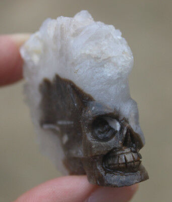Rare Awesome Natural Crystal Cluster Point Quartz Skull Healing Carving 62g
