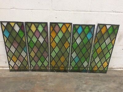 Five Vintage Stained Glass Panels