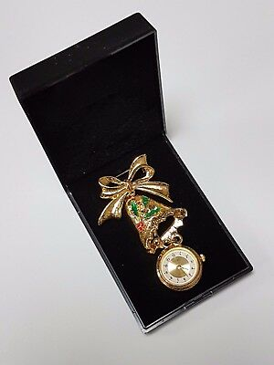 Le Chat Gold Coloured Christmas Bell Quartz Movement Fob Watch Brooch
