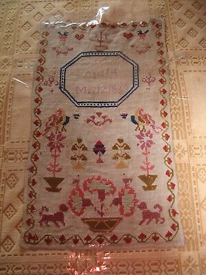 english,1853 linen,woolwork school sampler,worked by sarah griffiths