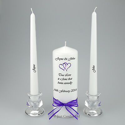 Personalised Wedding Unity Candle Coloured Hearts, Matching Ribbon - True Love..