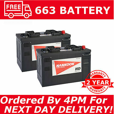 2x 663 Battery 105Ah Tractor Defender Truck Lorry