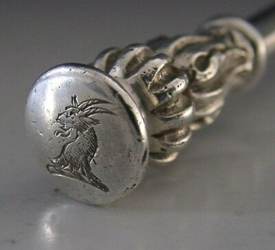 HEAVY ARTS & CRAFTS STERLING SILVER CHANDLER CRESTED SEAL TOP SPOON 1910 74g
