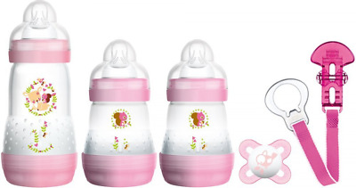 MAM Welcome to The World Set includes Bottles, Soother and Clip (Pink)