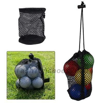 Black Nylon Mesh Nets Bags Golf Ball Pouch Storage Holder With Drawing String