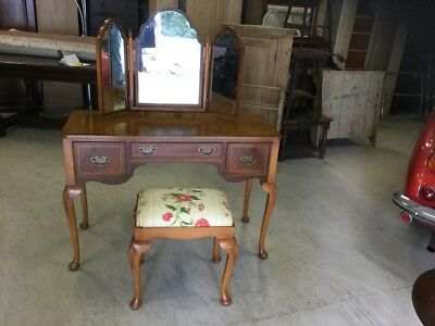 Burr Walnut Dressing Table & Matching Footstool