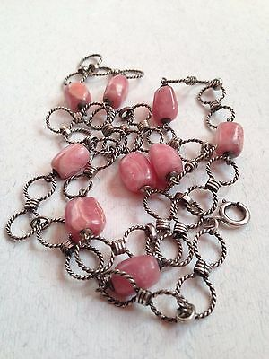 Vintage Silver Links 835 Necklace  Rhodochrosite Cabochons Beads Marked CAH 25''