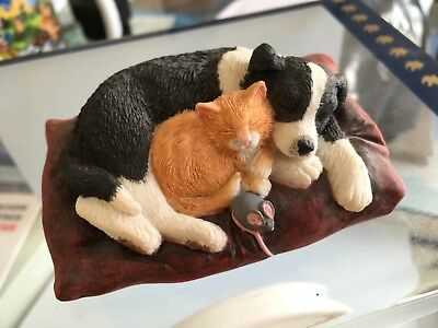 Border FineArts COLLIE PUP and KITTEN CURLED UP ASLEEP ON ITS BED,owned from new