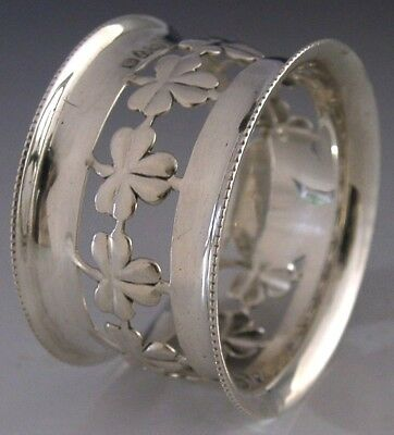 Beautiful Sterling Silver Irish Shamrock Napkin Ring 1904 Antique
