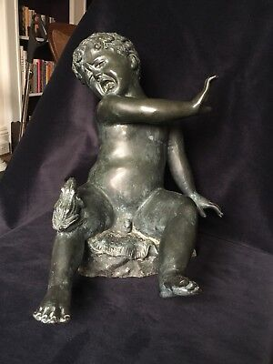 Fabulous Cast Bronze Water Feature Fountain Cherub Crying Boy with Frog 10KG