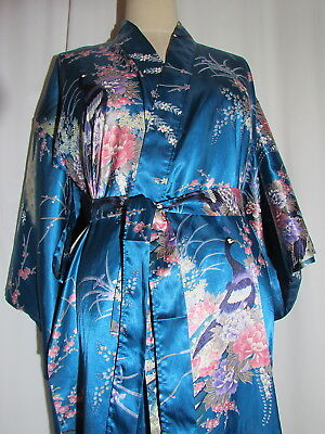 "Juguemm Teal Blue Kimono Size 56"" Crane Design Open Armpits Made in Japan"