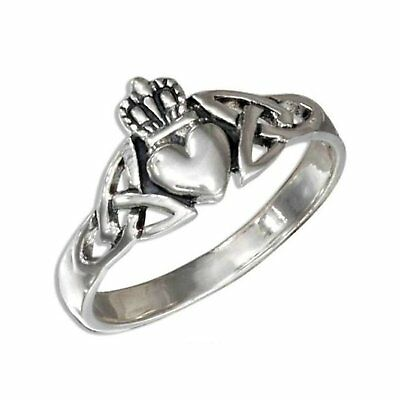 Sterling Silver Claddagh Celtic Triquetra Ring Size 9