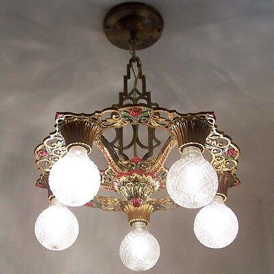 889 Vintage 20s 30s Ceiling Light  aRT Nouveau Poly-chrome Chandelier Virden