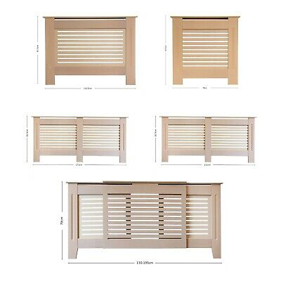 Radiator Cover Modern MDF Wood Grill Cabinet with Horizontal Slats - Unpainted