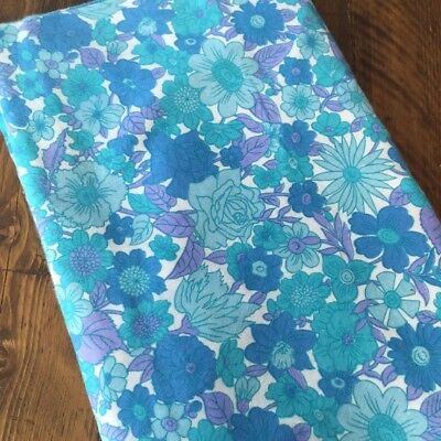 Vintage Sheet Floral Large for Double Bed in Turquoise Blue from 1960's