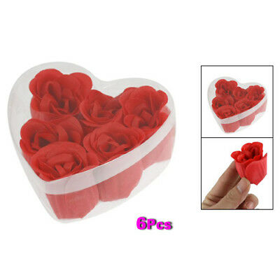 New Red 3 x 4cm/ 1.2 x 1.6 Scented Bath Soap Rose Petal in Heart Shape Box P6J5