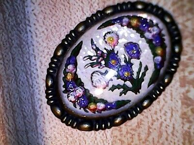 Edwardian Essex Reverse Painted Brooch With Gorgeous Floral Design