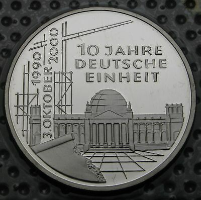 GERMANY 10 Mark 2000 A Proof - Silver - 10th Anniversary of Reunification