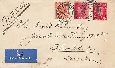 H 2191 Wolverhampton June 1937 3 kings airmail cover Sweden;  7d rate; 3 stamps