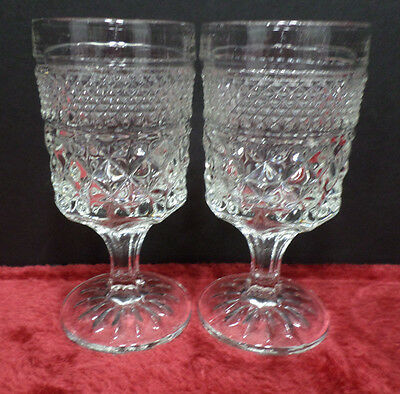Two Orange Juice Drinking Glasses Clear Glass in Wexford Pattern
