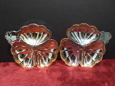 Small Divided Relish Trays Set of 2 Carnival Glass Marigold