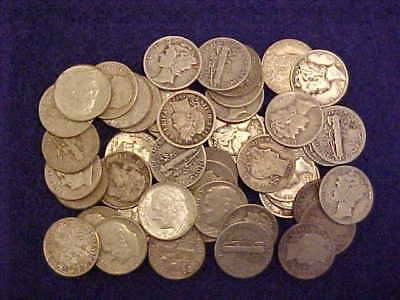 ROLL OF 50 DIMES, 20 MERCs, 24 ROSEYs, 6 BARBERS, 90% SILVER